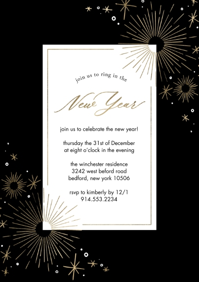 New Years Photo Cards Flat Glossy Photo Paper Cards with Envelopes, 5x7, Card & Stationery -New Year Invite Sparkling Border by Tumbalina
