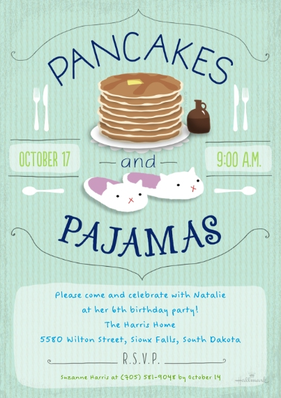 Kids Birthday Party Invites 5x7 Cards, Premium Cardstock 120lb with Scalloped Corners, Card & Stationery -Pancakes and Pajamas