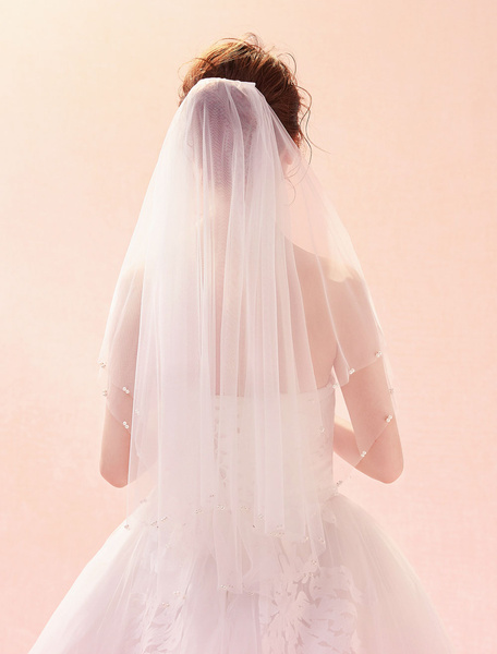 Milanoo Wedding Veil Ivory Tulle Pearls Beading Oval Two Tier Bridal Veils