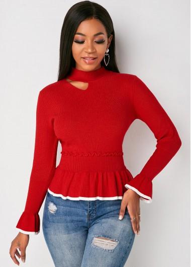 Trendy Mock Neck Peplum Waist Cutout Front Sweater - S