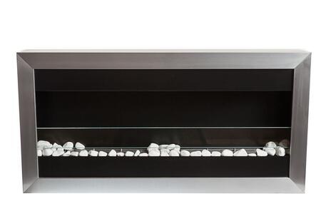 Square I Collection BBS-QL1G Large Wall Mounted Ethanol Fireplace with Safety Glass in Stainless