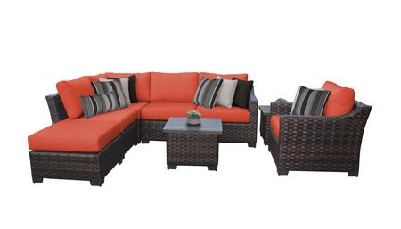 RIVER-08m-TANGERINE Kathy Ireland Homes and Gardens River Brook 8-Piece Wicker Patio Set 08m - 1 Set of Truffle and 1 Set of Persimmon