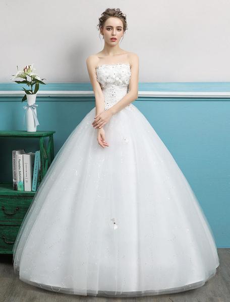 Milanoo Princess Wedding Dresses Strapless Ball Gowns Flowers Beaded Tulle Ivory Floor Length Bridal Dress