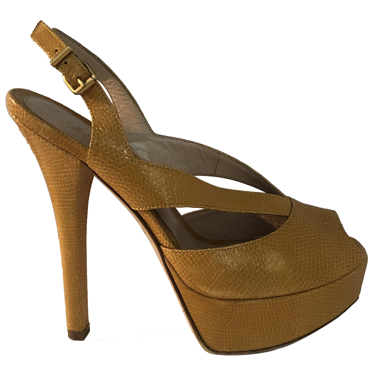 Fendi - Sandales   pour femme en cuir - jaune