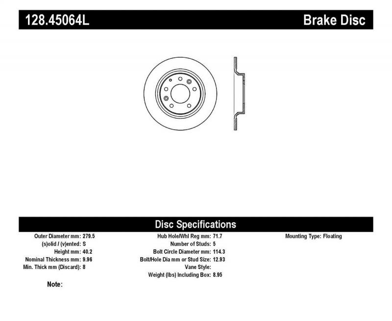 StopTech 128.45064L Sport Cross Drilled Brake Rotor; Rear Left Rear Left
