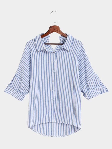 Yoins Casual Stripe Pattern Shirt In White And Blue