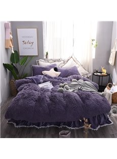 Solid Purple Princess Style 4Pcs Fluffy Bed Skirts Duvet Cover Set with Zipper Ties