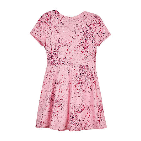 by&by girl Tie-Front Paint Splatter Big Girls Short Sleeve Abstract T-Shirt Dresses, Small , Pink