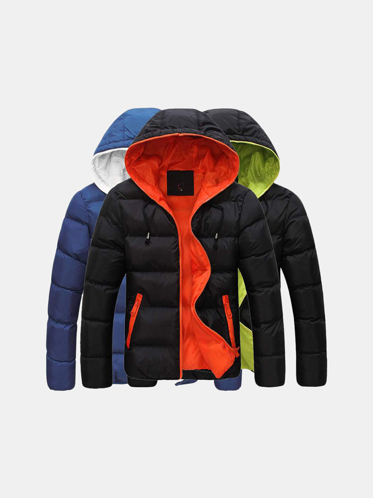 Mens Winter Thermal Thick Contrast Color Stylish Casual Outdoor Hooded Down Jacket