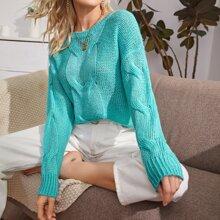 Pullover mit rundem Kragen und sehr tief angesetzter Schulterpartie