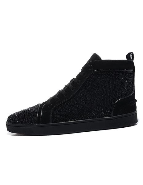 Milanoo Balck Mens Senakers 2020 Lace Up Round Toe Rhinestone Sheepskin Casual Skate Shoes For Men