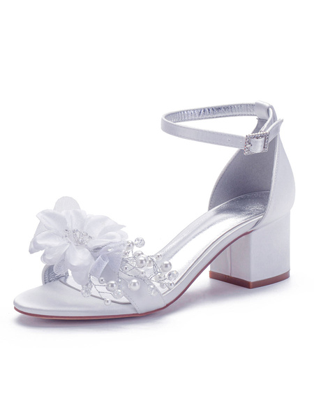 Milanoo Wedding Shoes Satin White Pointed Toe Sequins Chunky Ankle Strap Special Occasion Shoes