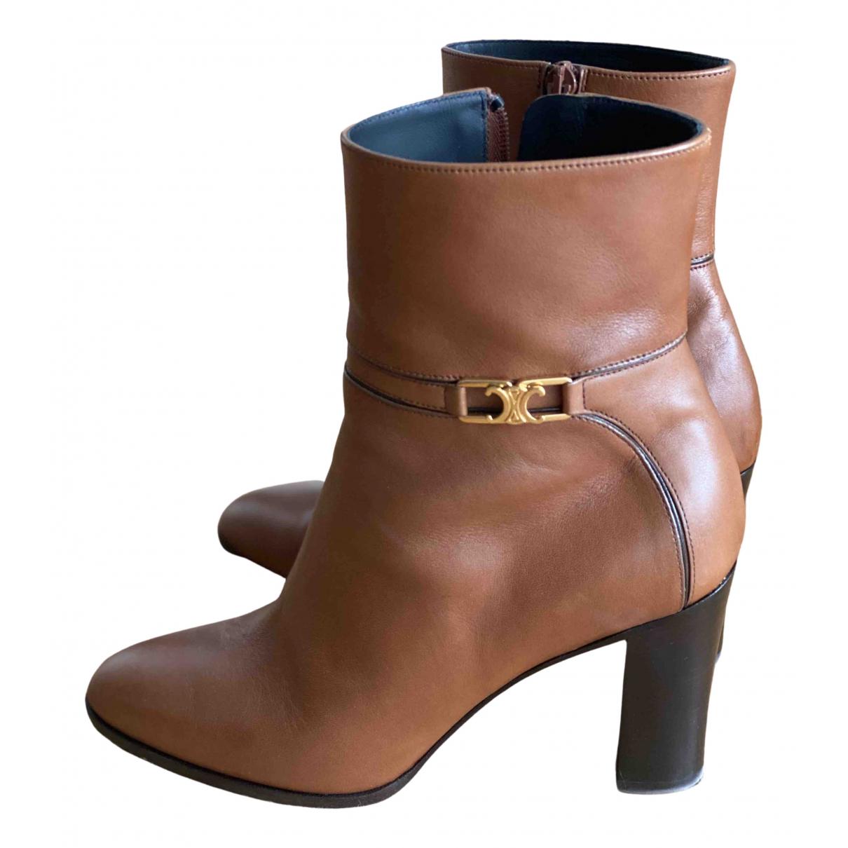 Celine - Bottes Claude pour femme en cuir - marron