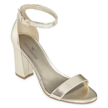 Worthington Womens Beckwith Heeled Sandals, 7 1/2 Medium, Gray