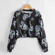 Chinese Dragon Print Crop Sweatshirt
