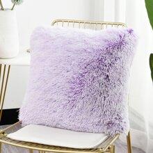1pc Plain Faux Fur Cushion Cover Without Filler