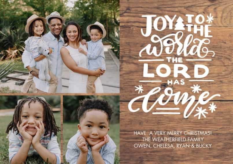 Christmas Photo Cards 5x7 Cards, Premium Cardstock 120lb with Elegant Corners, Card & Stationery -Christmas Joy Hand Lettered by Tumbalina