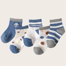 5 pares calcetines de niñitos con patron de rayas