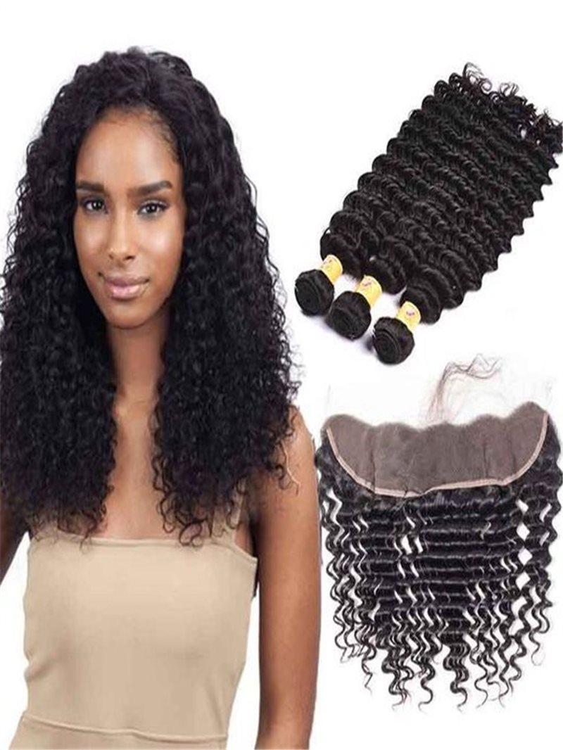 Ericdress Brazilian Virgin Hair Bundles Deep Wave Human Hair Extension 300g + Lace Frontal