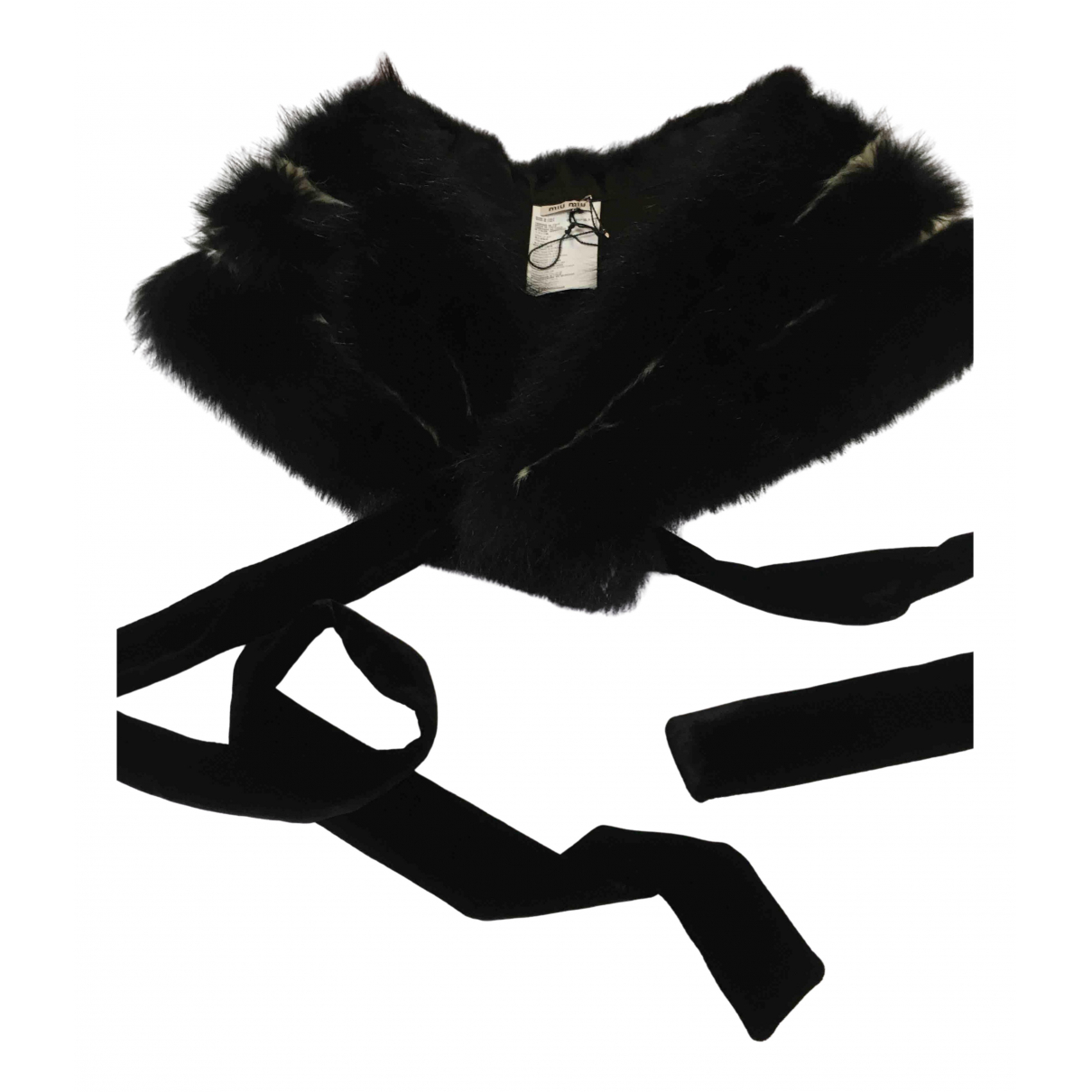 Miu Miu - Foulard   pour femme en fourrure - noir