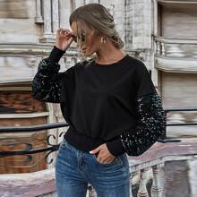 Contrast Sequin Drop Shoulder Sweatshirt