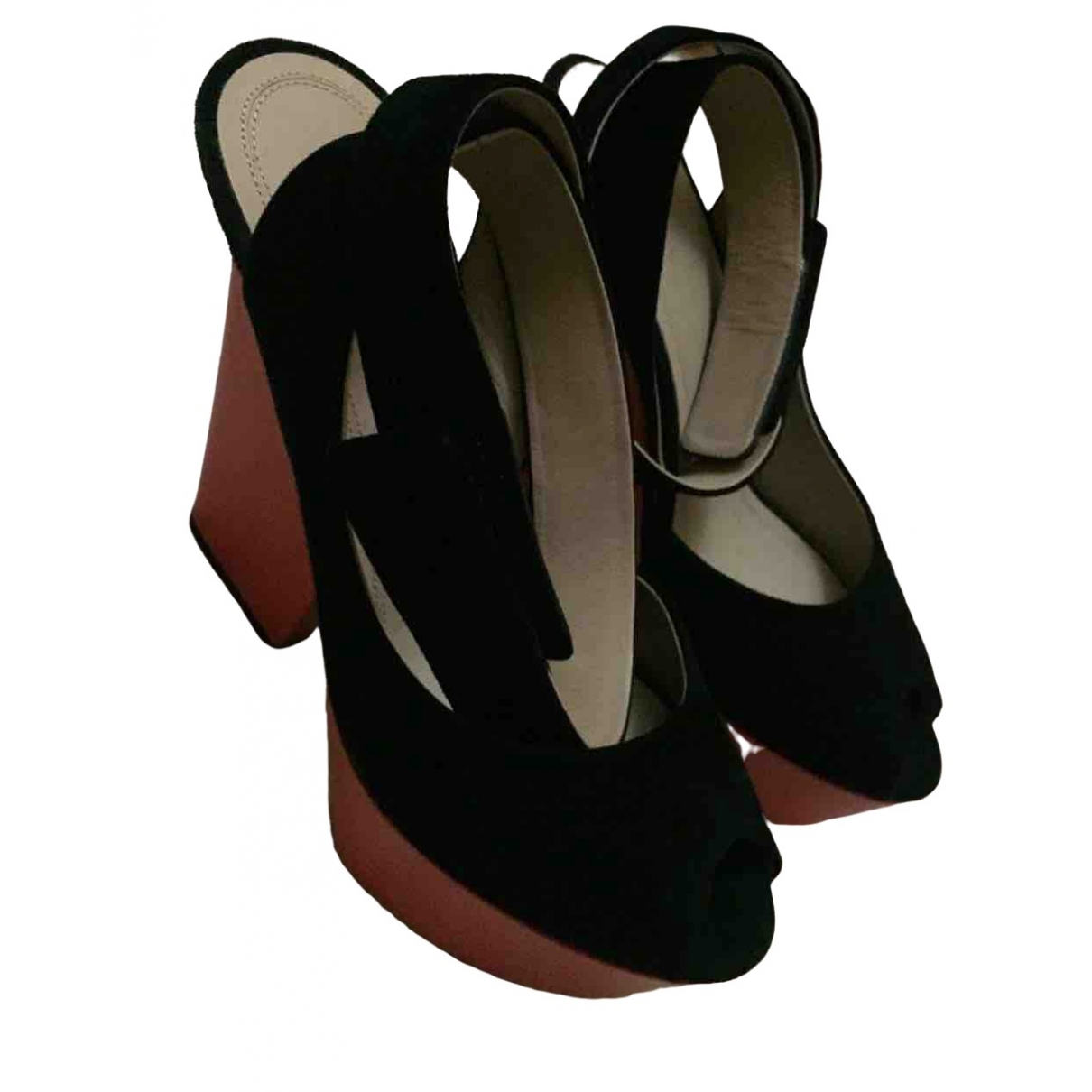 Celine \N Black Suede Sandals for Women 37 EU