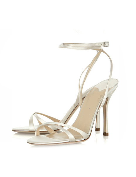 Milanoo High Heel Sandals Womens Silk and Satin Open Toe Slingback Stiletto Heels Bridal Sandals