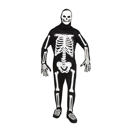 Mens Light Up LED Skele-bones Costume - One Size, One Size , Black