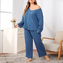 Plus V-neck Button Front Pajama Set