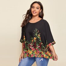 Plus Batwing Sleeve Botanical Print Top