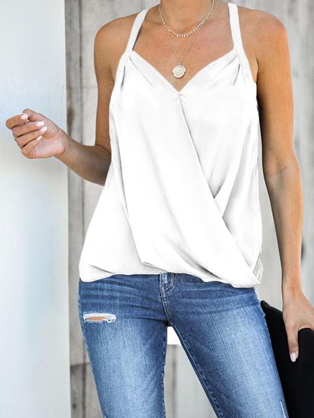 Yoins White Halter V-neck Sleeveless Wrap Cami