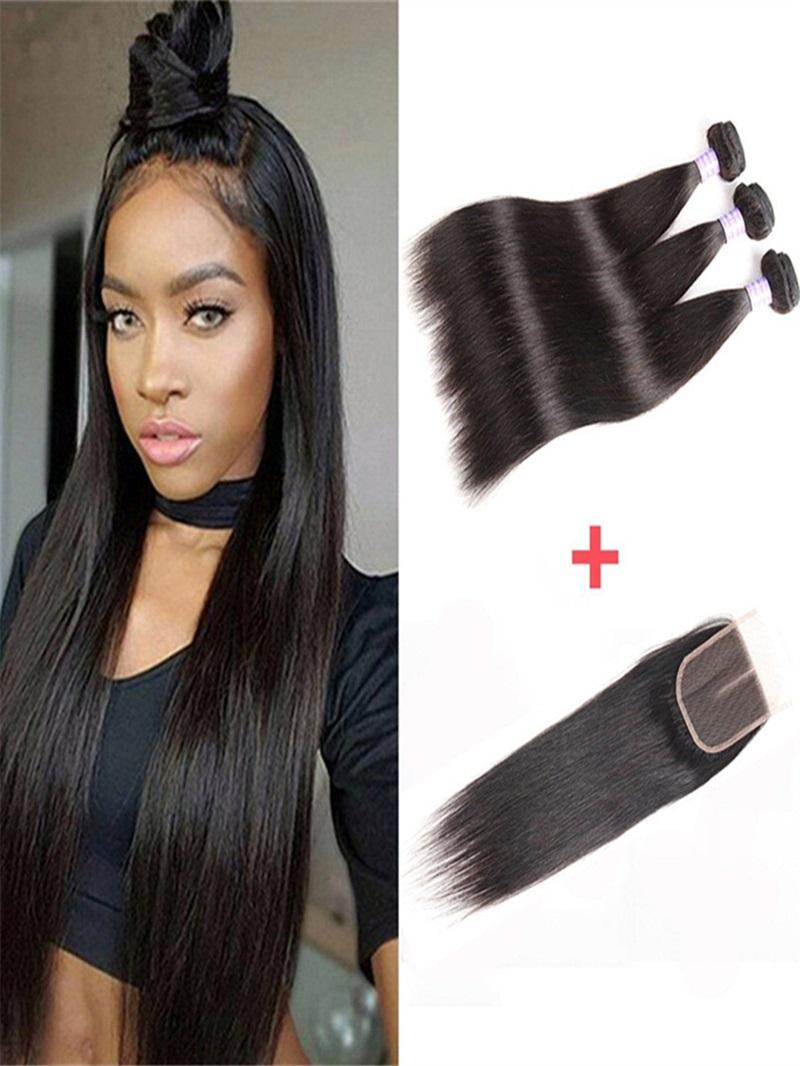 Ericdress Unprocessed Virgin Brazilian Straight Human Hair Bundle Deals Lace Closure Hair