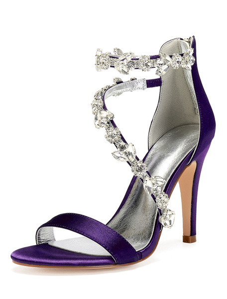 Milanoo High Heel Sandals Women Open Toe Rhinestones Strappy Wedding Shoes Satin Bridal Shoes