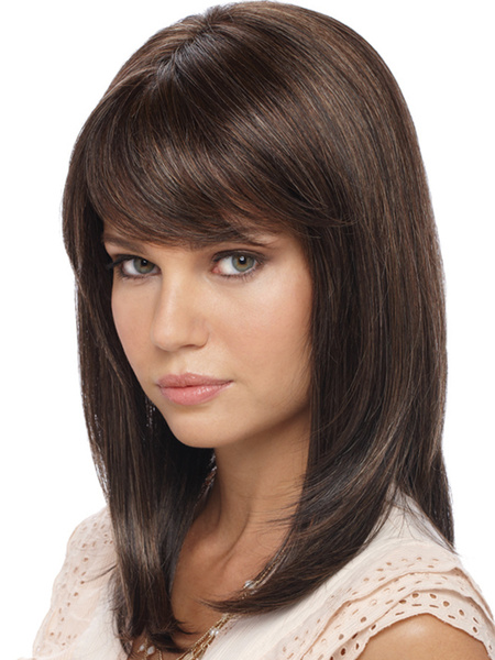 Milanoo Women Hair Wigs 2020 Light Brown Shoulder Length Straight Synthetic Wig