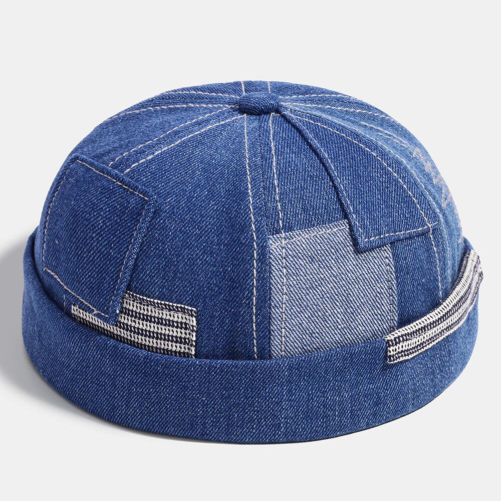 Men Fashion Denim Pocket Patch Stitching Landlord Hat Skull Caps