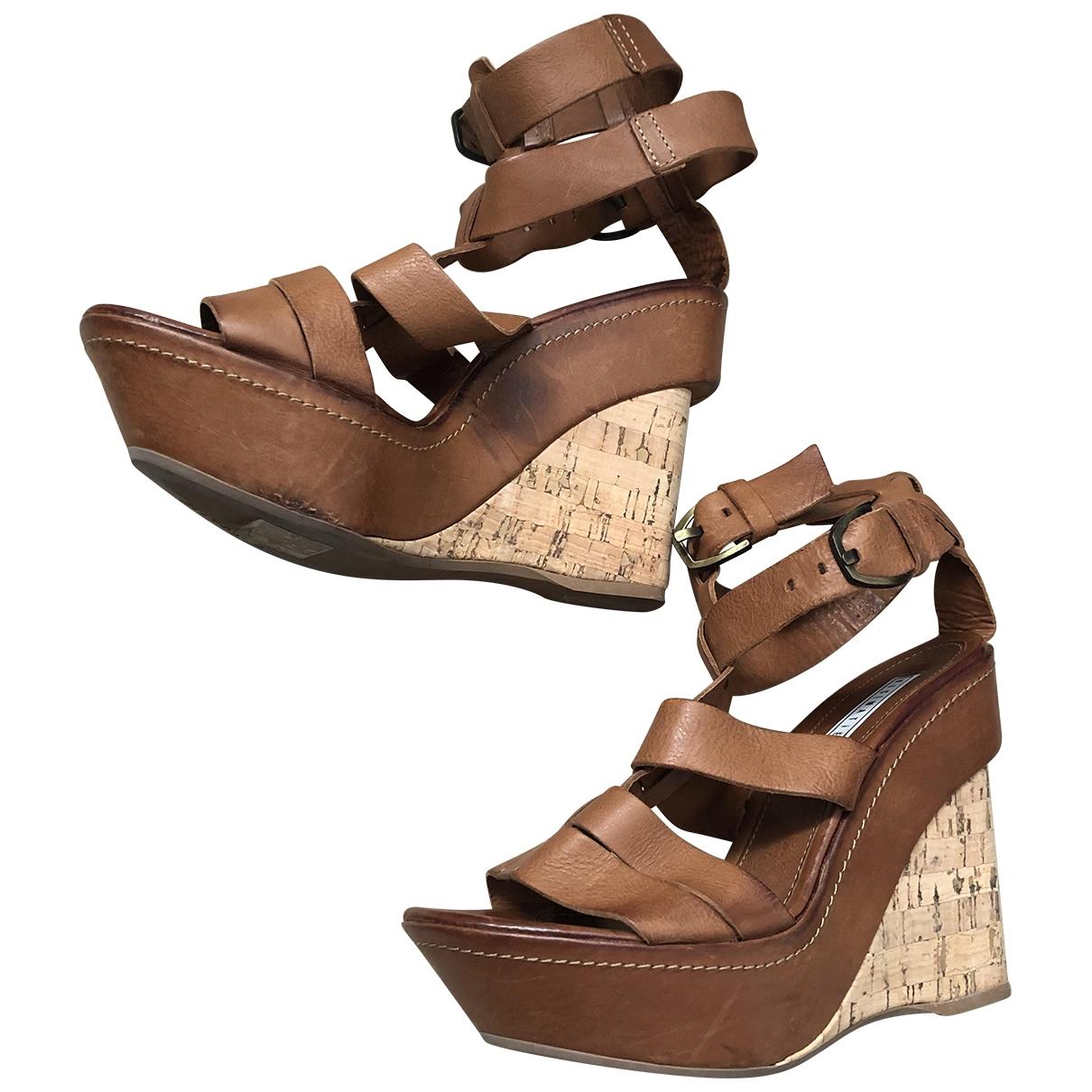 Vic Matié \N Beige Leather Sandals for Women 35 EU