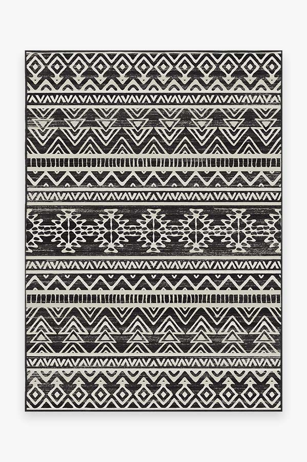 Washable Rug Cover & Pad   Linear Aztec Black Rug   Stain-Resistant   Ruggable   5x7