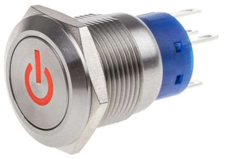 RS PRO Double Pole Double Throw (DPDT) Latching Red LED Push Button Switch, IP67, 19 (Dia.)mm, Panel Mount, Power