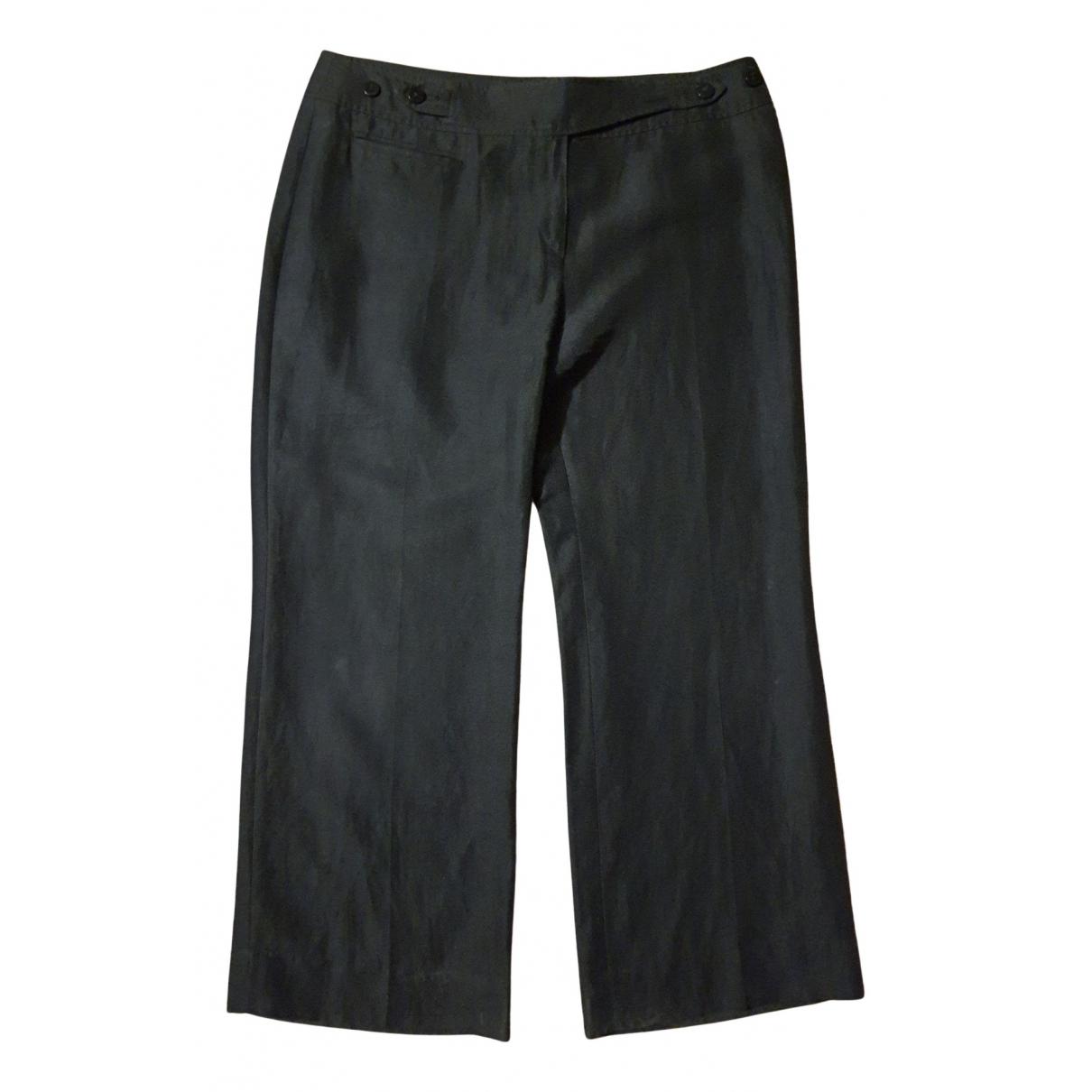 Armani Collezioni N Black Linen Trousers for Women 46 IT