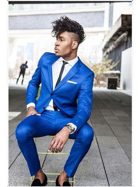 Mens Saphire~Royal ~ Indigo ~ Cobalt New Blue 2 Button Jacket & Pants