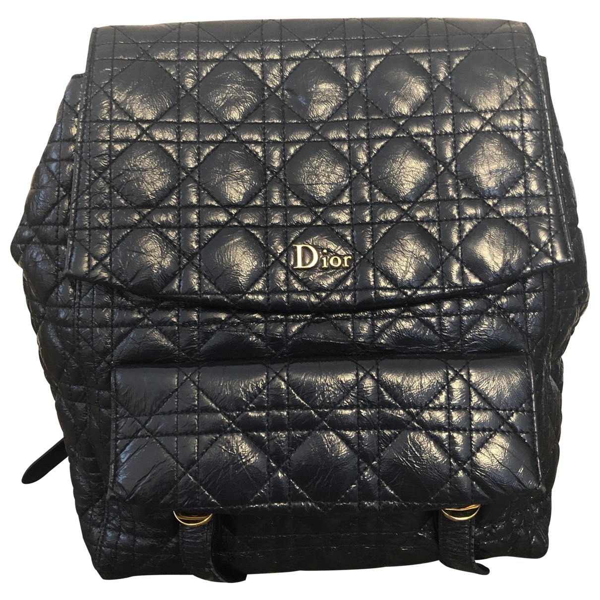 Dior \N Navy Patent leather backpack for Women \N