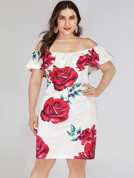Yoins Plus Size Random Floral Print Off The Shoulder Short Sleeves Dress