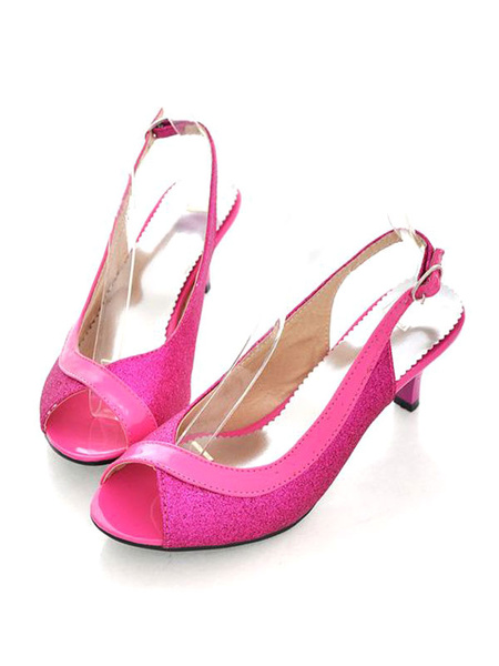 Milanoo Glitter High Heels Kitten Heel Pumps Women Peep Toe Slingbacks Pumps For Women