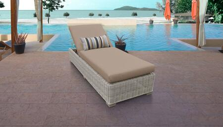 Coast Collection COAST-1x-WHEAT Wicker Patio Chaise - Beige and Wheat