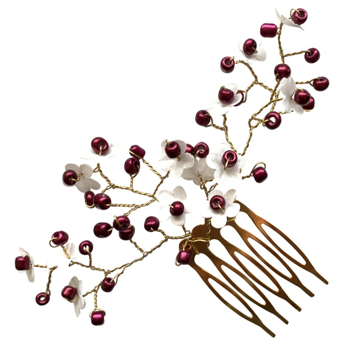 - Bijoux de tete Motifs Floraux pour femme en metal - bordeaux