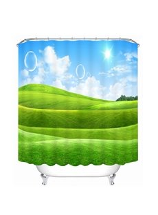 The Green Pastures in Sunny Day Printing Bathroom 3D Shower Curtain