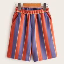 Boys Slant Pocket Colorblock Striped Shorts