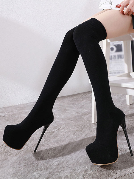 Milanoo Women Sexy Platform Sock Boots Round Toe Stiletto Heel Knee High Boots