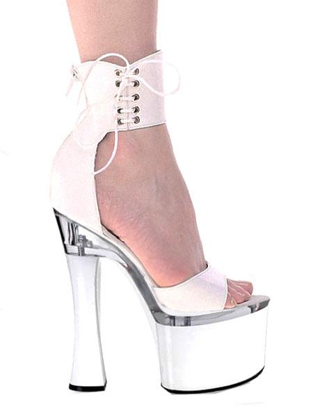 Milanoo Plataforma de zapatos sexy blanco punta abierta con cordones correa de tobillo sandalias de tacon alto para mujeres