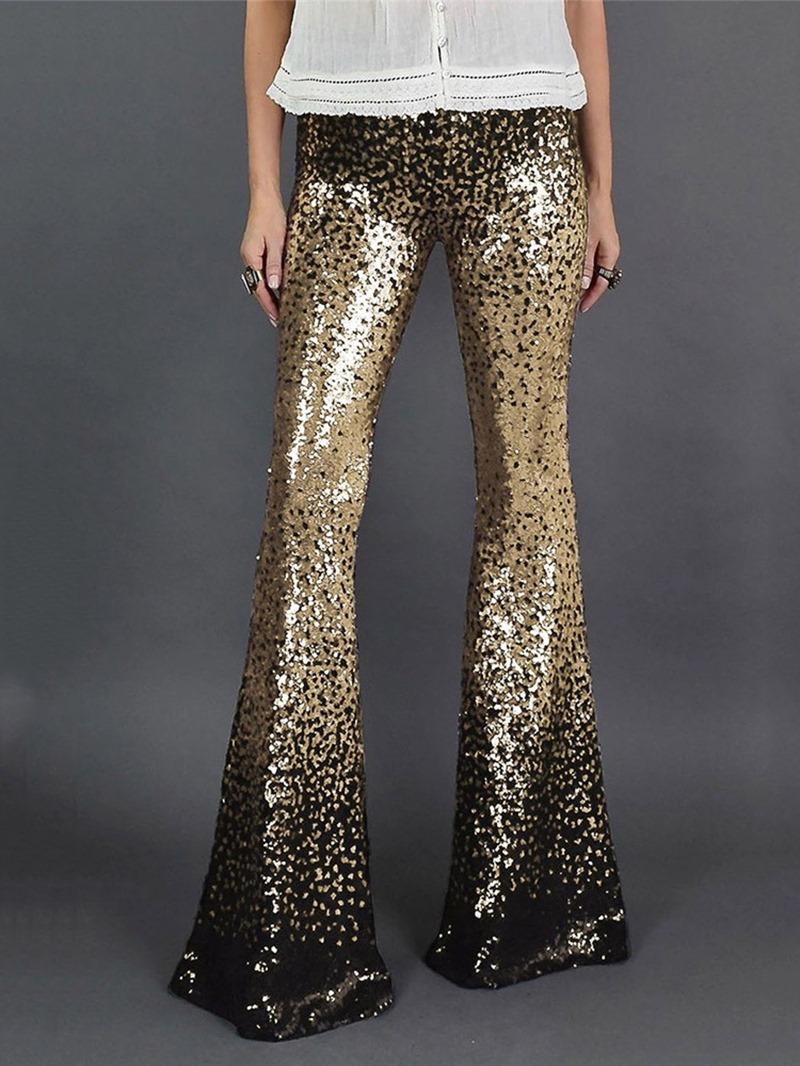 Ericdress Loose Sequins Color Block Bellbottoms Length Women's Casual Pants